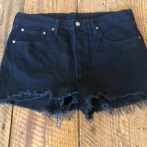 Levi's 501 black denim shorts high rise